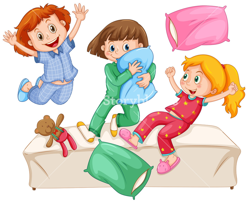 Three girls playing pillow fight at the slumber party.
