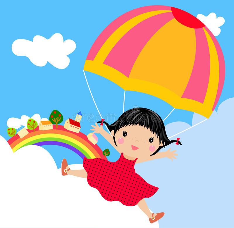 Child Parachute Stock Illustrations.