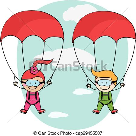 Kids parachute boy and girl.