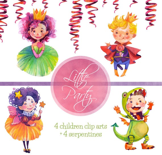 Watercolor Kids Clip art Party, birthday party watercolor clip art/  children party clipart/ watercolor kids party/ children art.