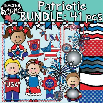 Patriotic Kids Clipart BUNDLE: 41 pieces.