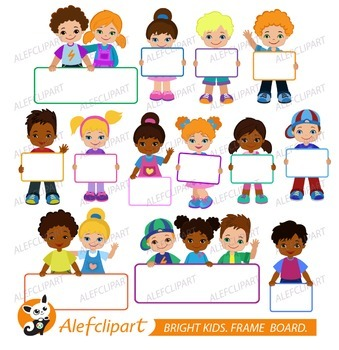 Kids with Signs. Bricht Kids .Frame Board. Clipart..