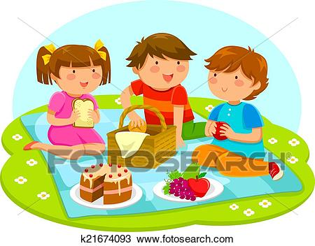 Kids on a picnic Clipart.