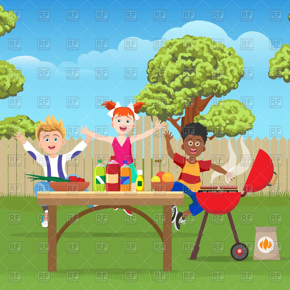 Joyful active kids on barbecue picnic in green garden Stock Vector Image.