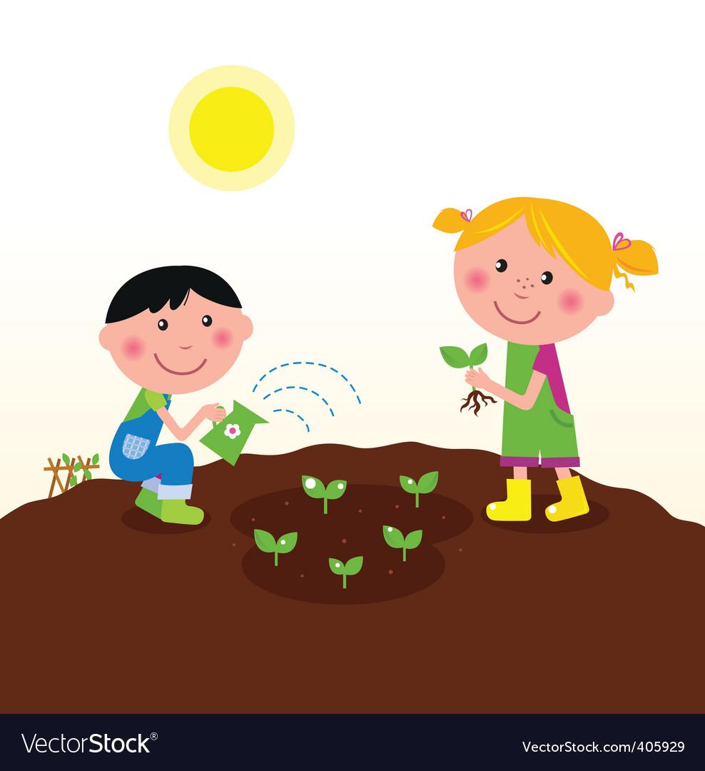 Kids watering planting plant.