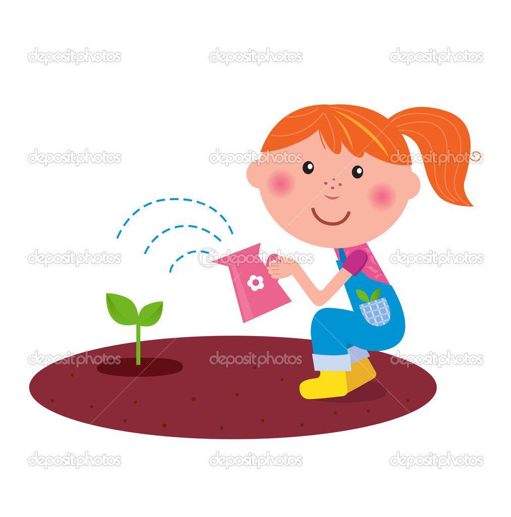 Girl Planting Flowers Clipart.