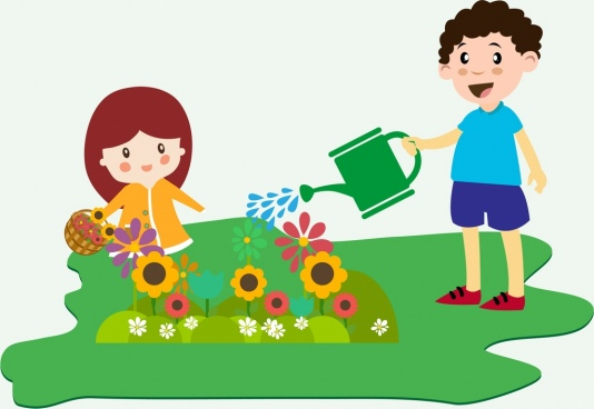 Children planting free vector download (6,494 Free vector.