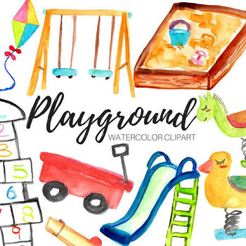 Watercolor Kids Playground Clipart.