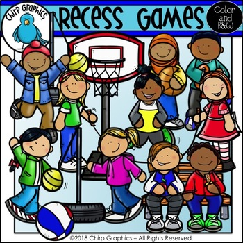 Recess Games Clip Art Set.