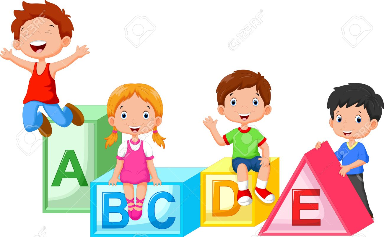 School Kids Playing Clipart.