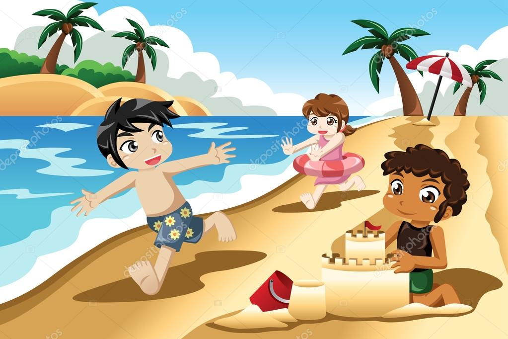 Clipart: playing at the beach.