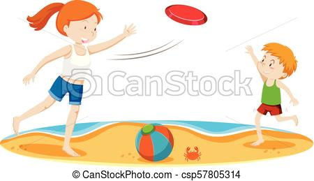 Kids Playing Frisbee at Beach.