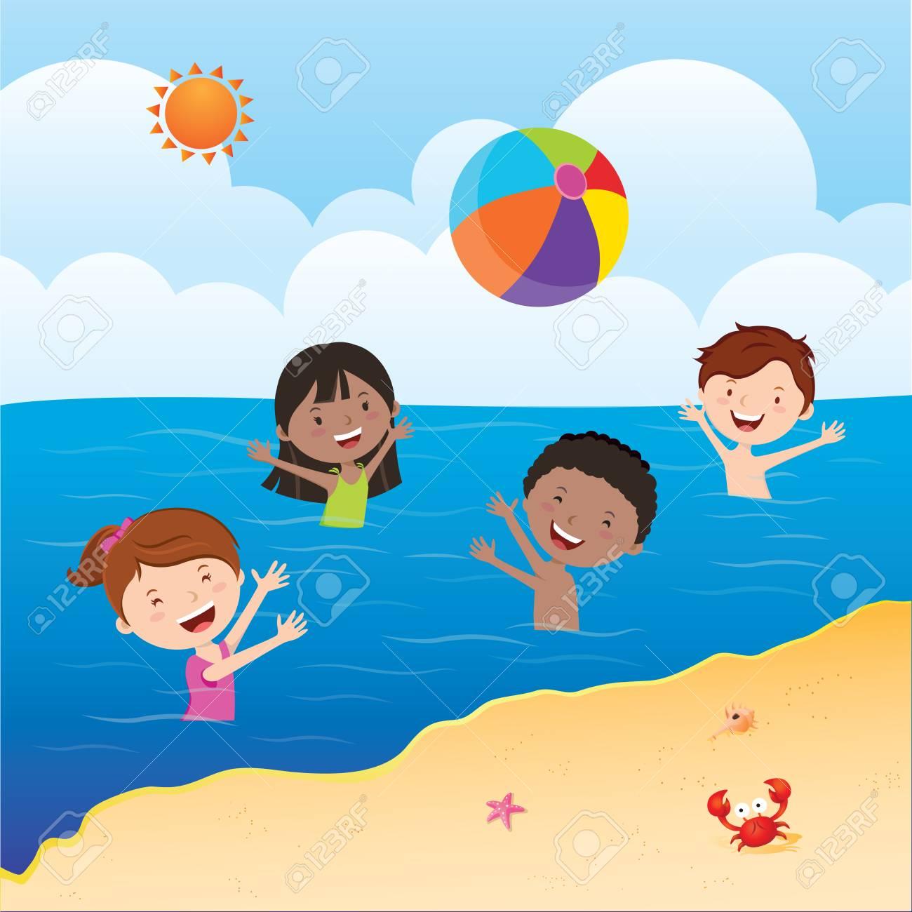 Kids playing beach ball. Happy kids playing beach ball in the...