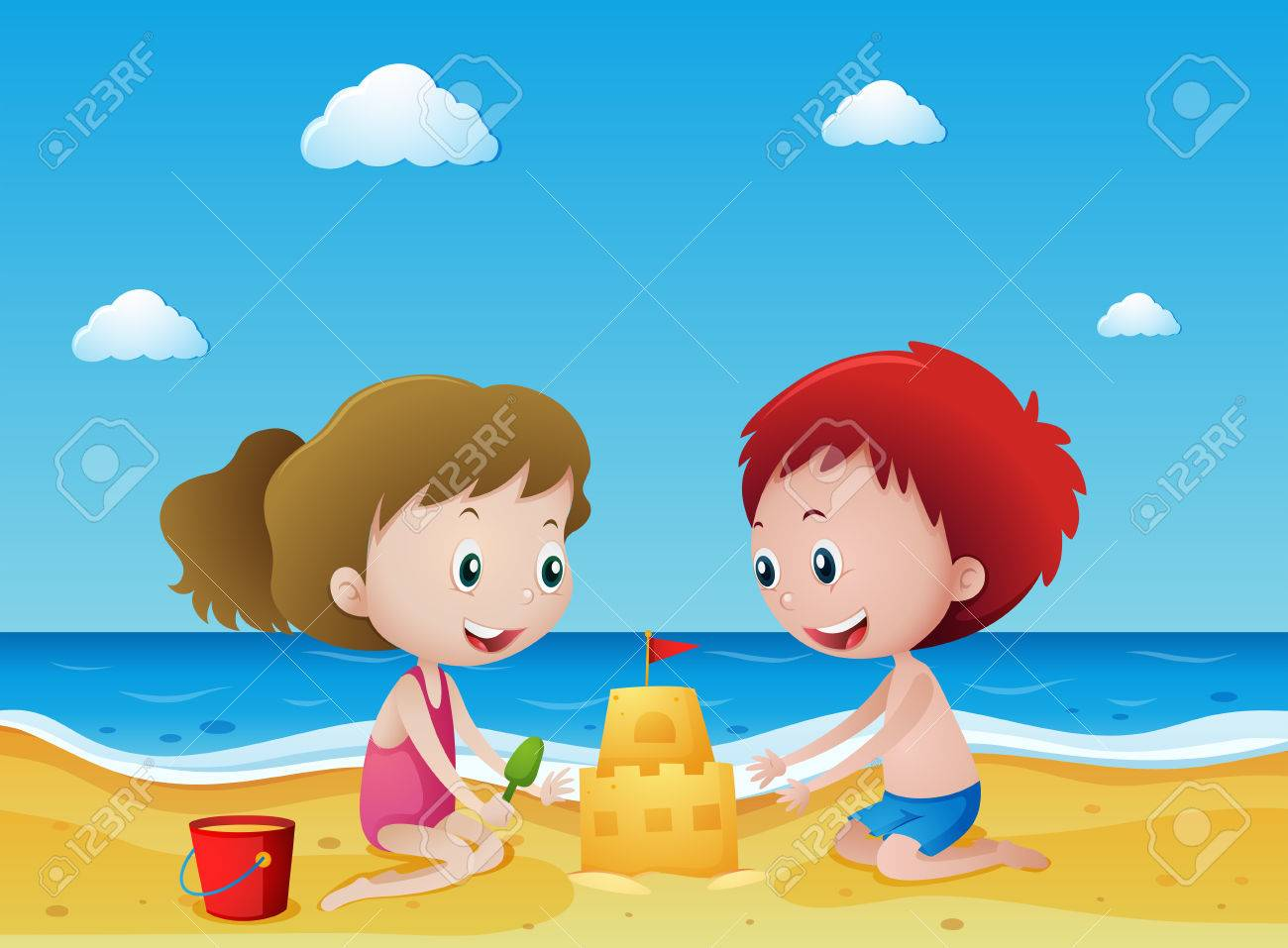 Kids playing sand on the beach illustration.