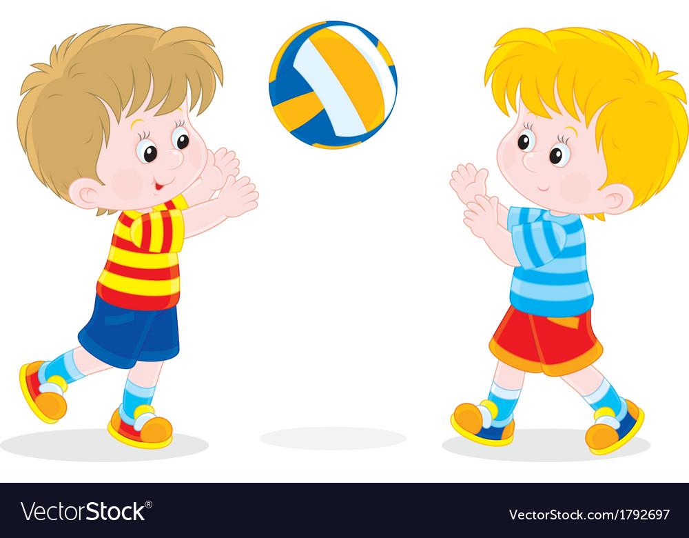 Children playing volleyball.