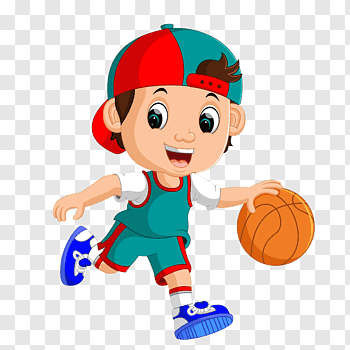 Three person playing basketball, Cartoon Basketball Sport.
