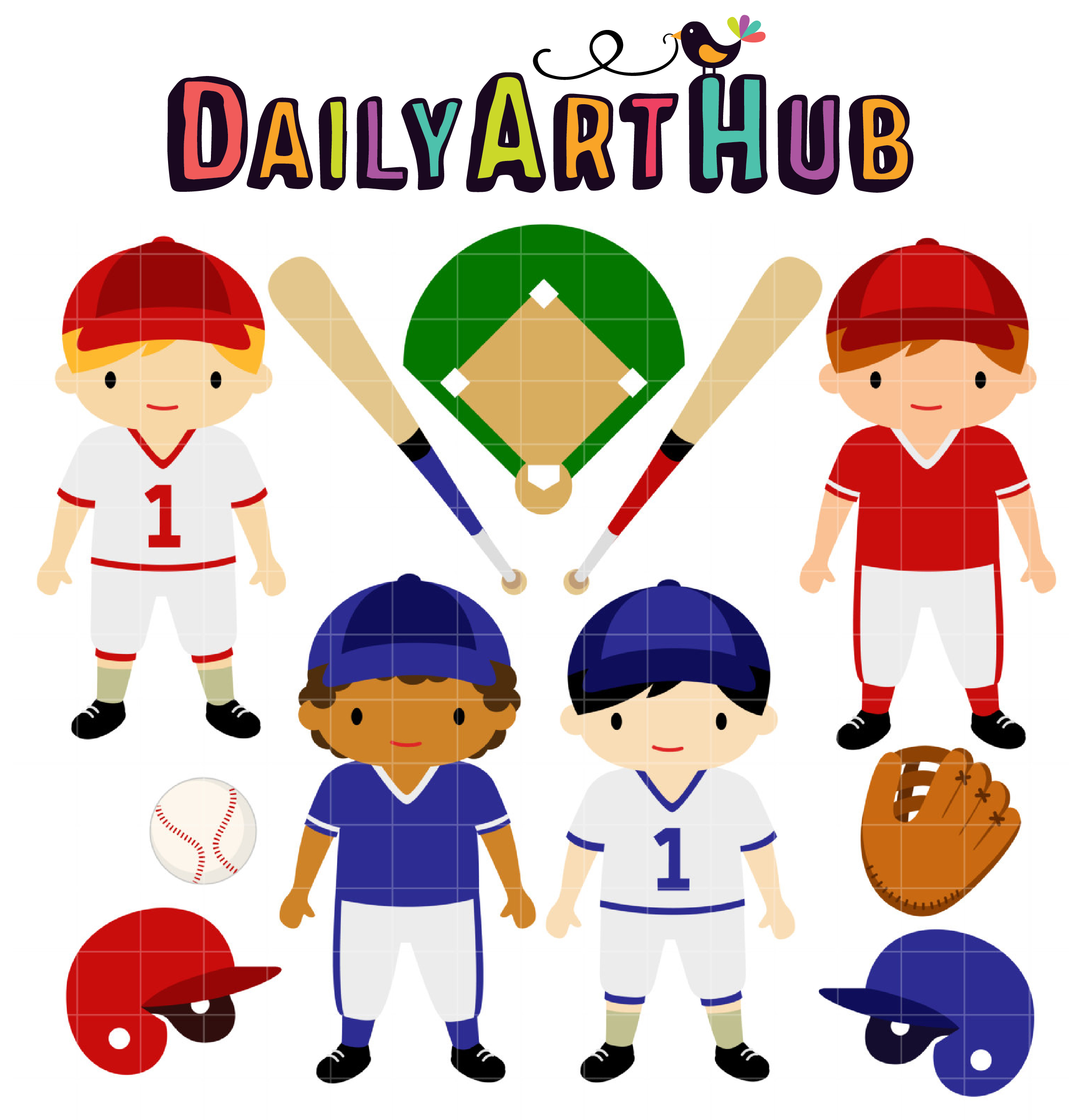Baseball Kids Clip Art Set.