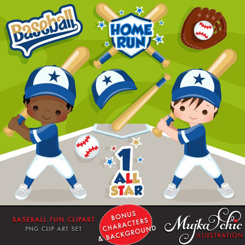 Baseball Clipart. Baseball graphics, baseball players, baseball game  illustrations, kids playing baseball, home run, african american.