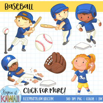 Kids Playing Baseball Sports Clip Art.