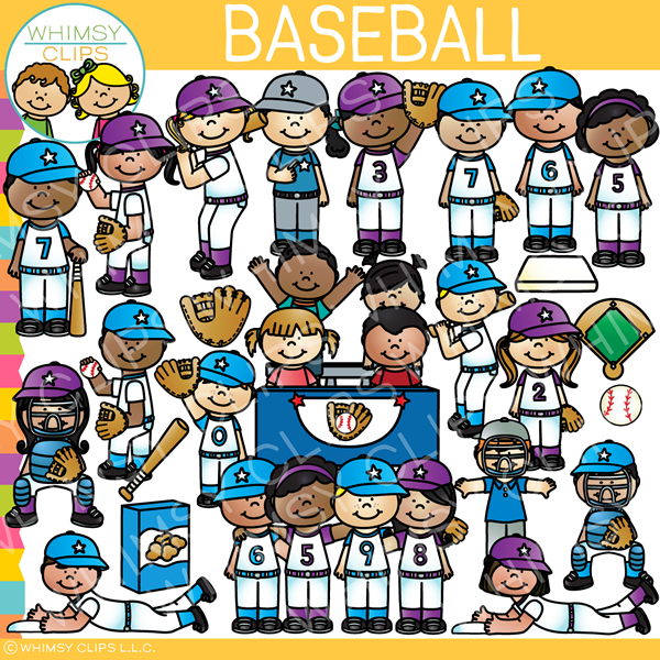 Baseball Kids Clip Art.