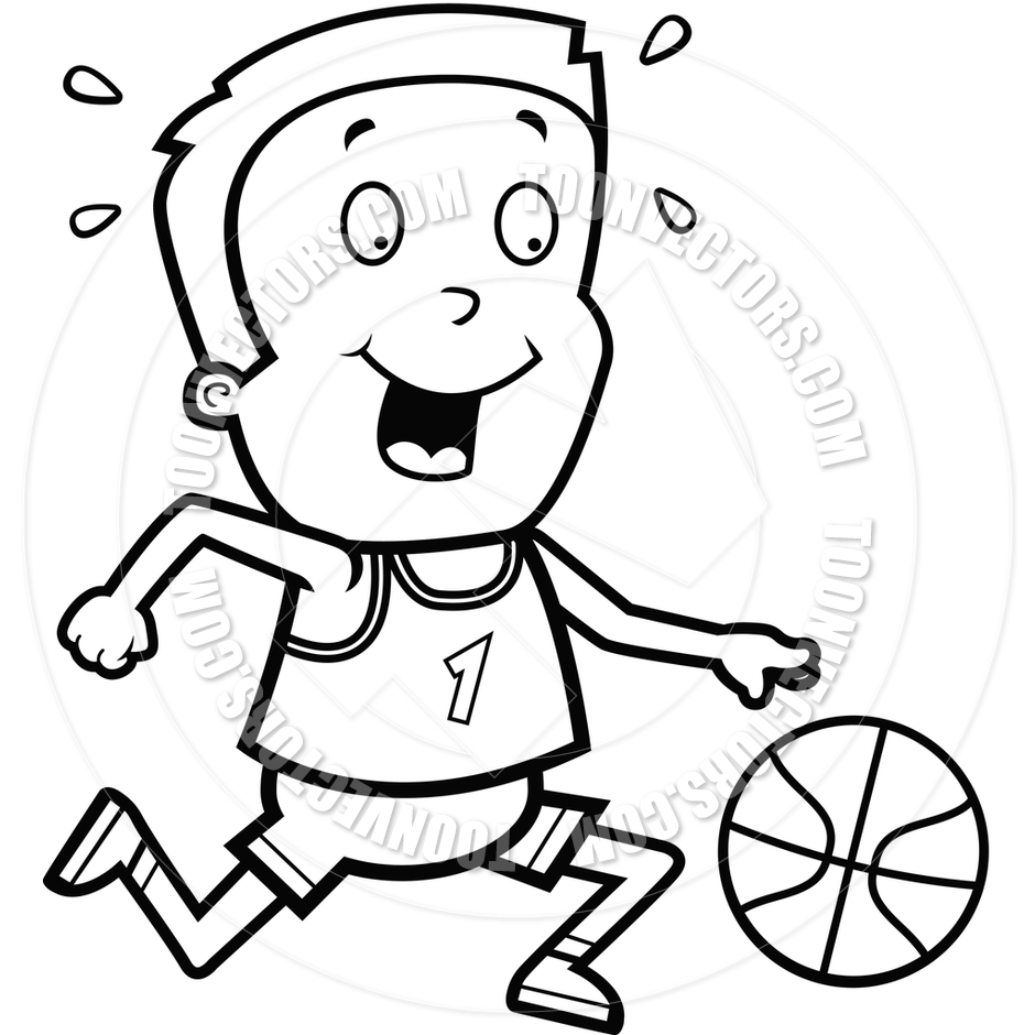 Children Playing Basketball Clipart Black And White.