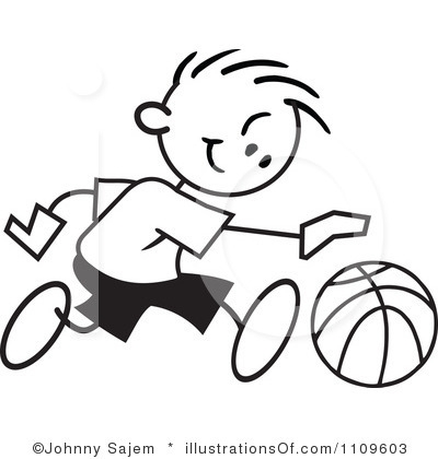 Kids Playing Basketball Black And White Clipart.