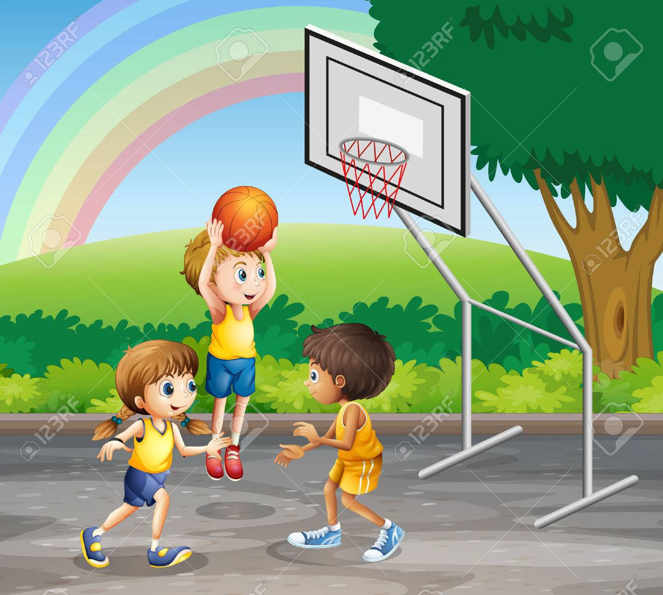 Three children playing basketball at the court illustration.