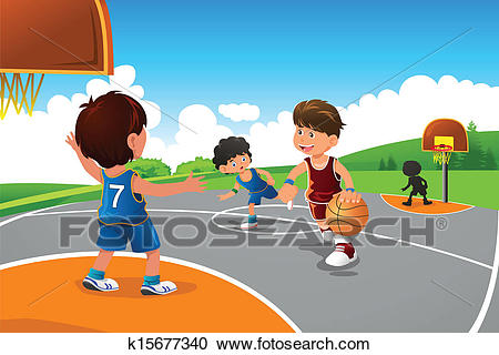 Kids playing basketball in a playground Clipart.