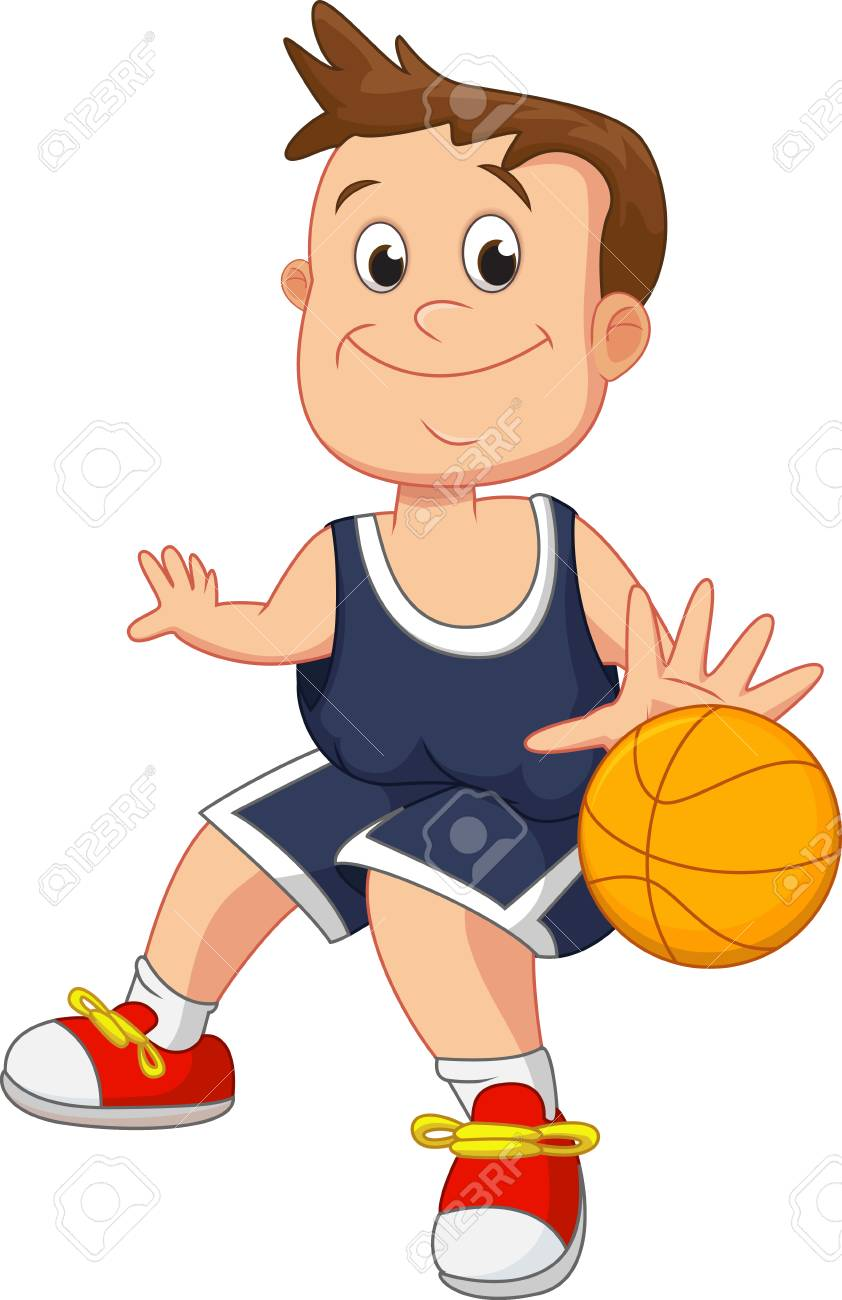 illustration of kid playing basketball.