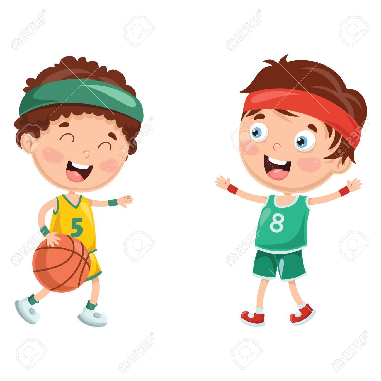 Vector Illustration Of Kids Playing Basketball.