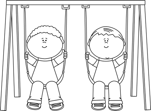 Black and White Black and White Kids Swinging.