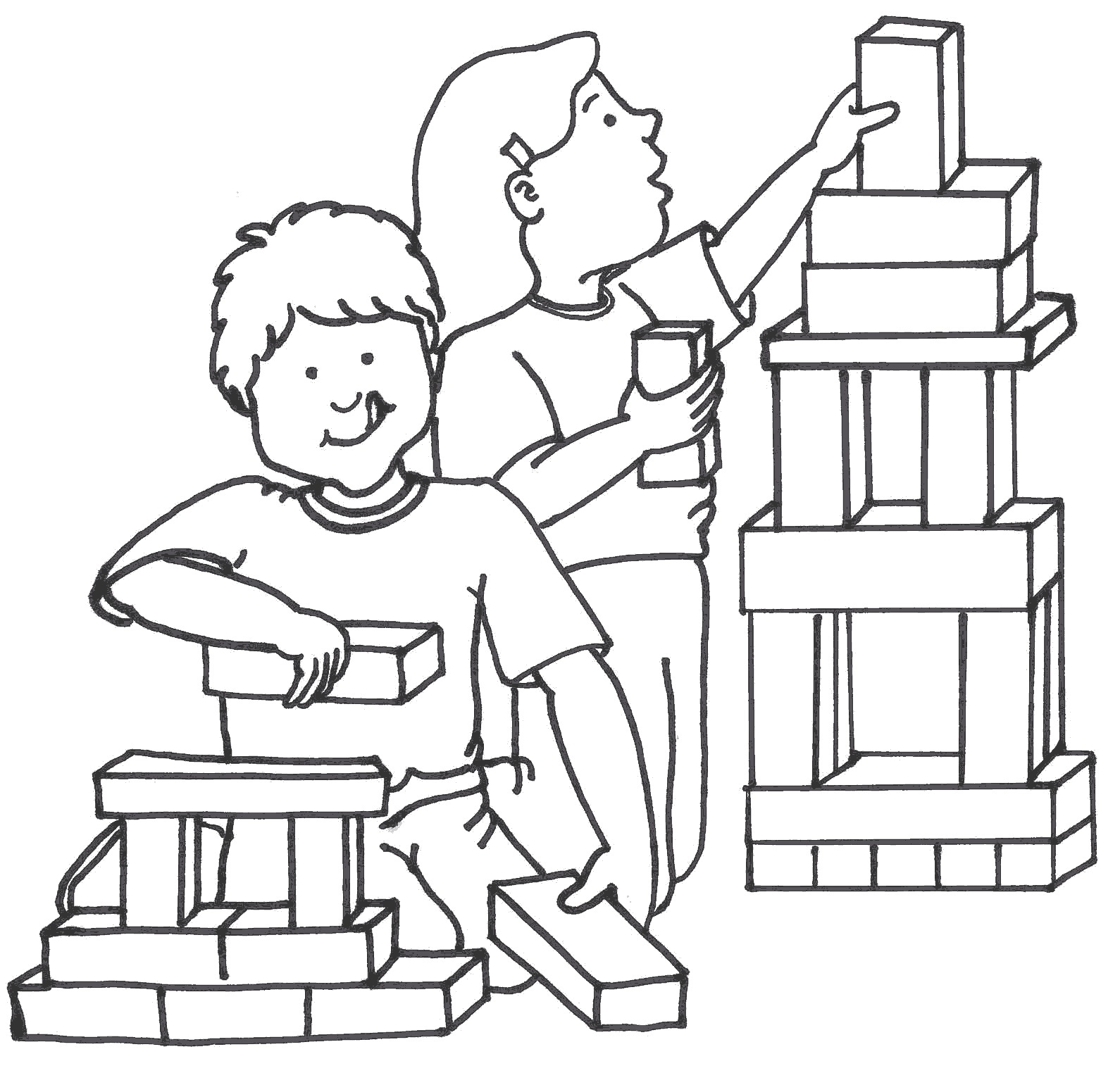 Kids Playing With Blocks Clipart Black And White.