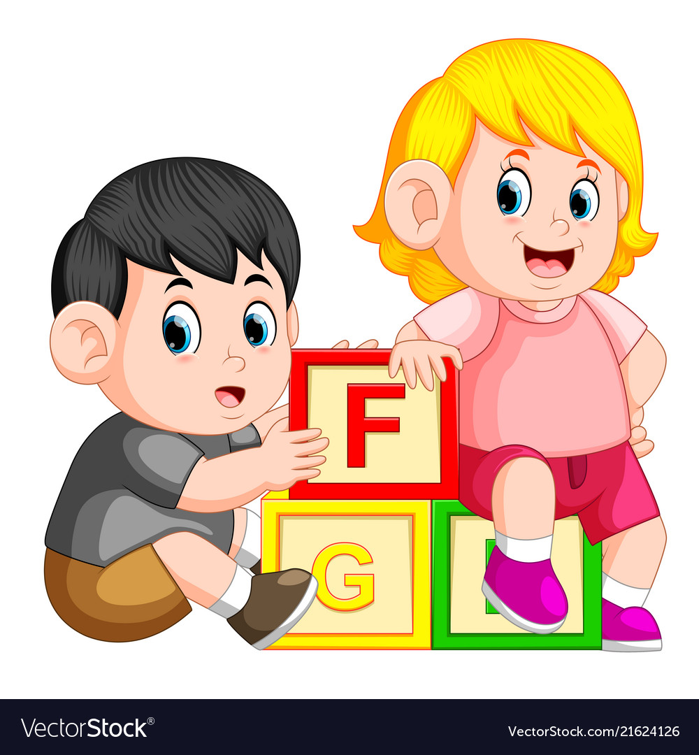 Kids playing with alphabet block.