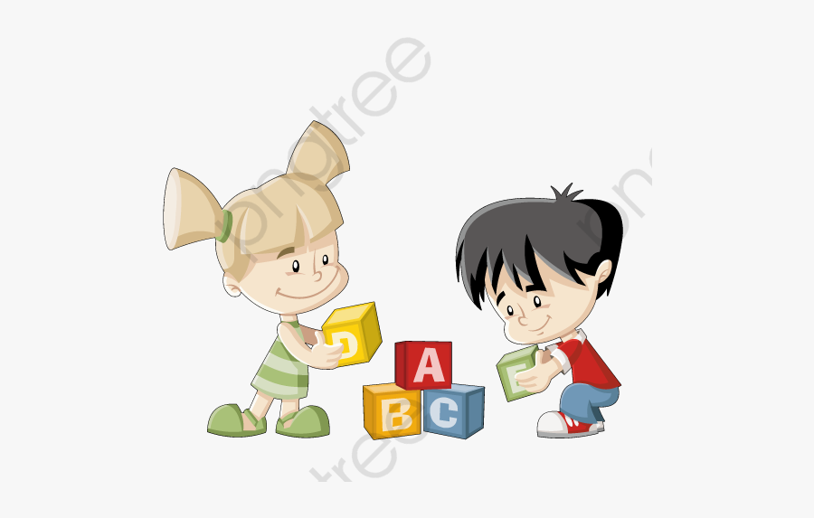 Children Playing With Blocks Clipart.