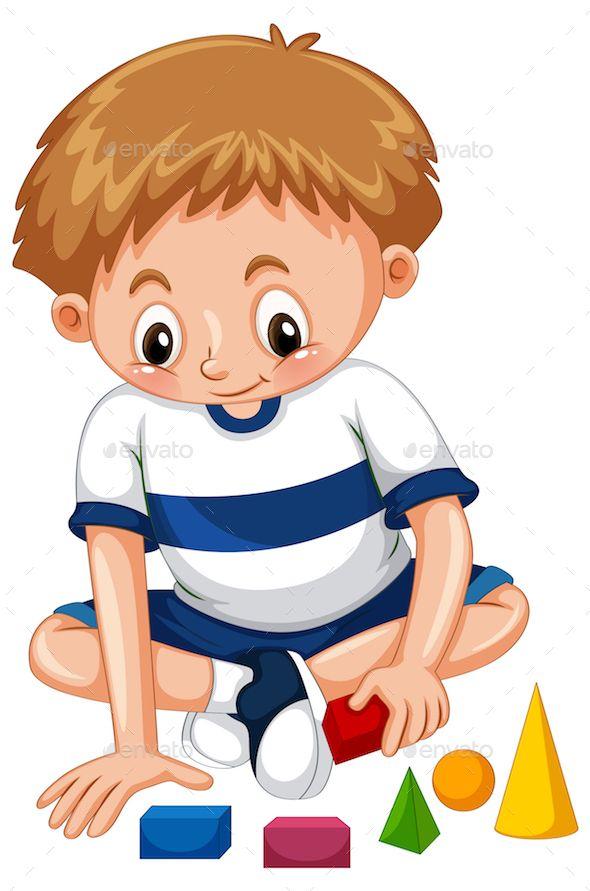 Boy playing with shape blocks illustration.
