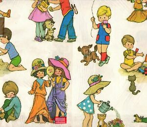 Details about Vintage Children Playing Gift Wrap Wrapping Paper Playing  Dress.