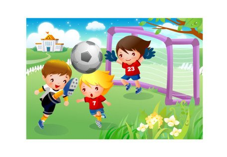 Children playing football motion Clipart Picture.