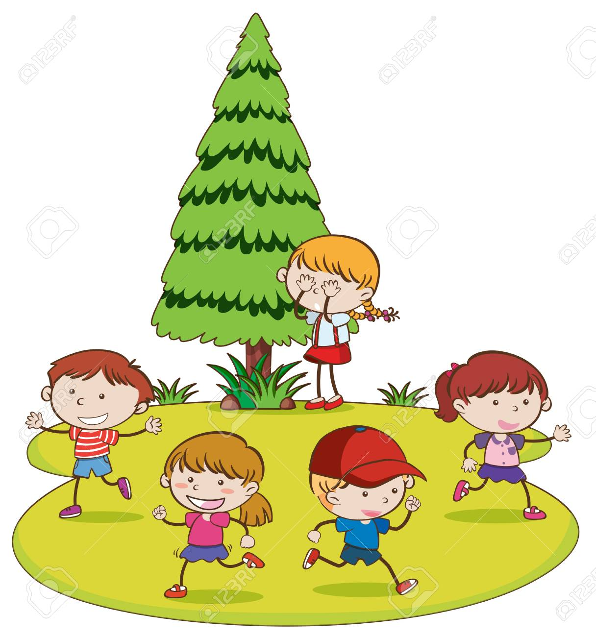 Kids Playing Hide and Seek in Park illustration.