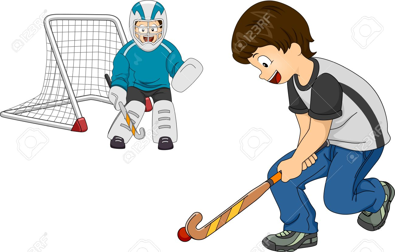 Kids Playing Hockey Clipart.