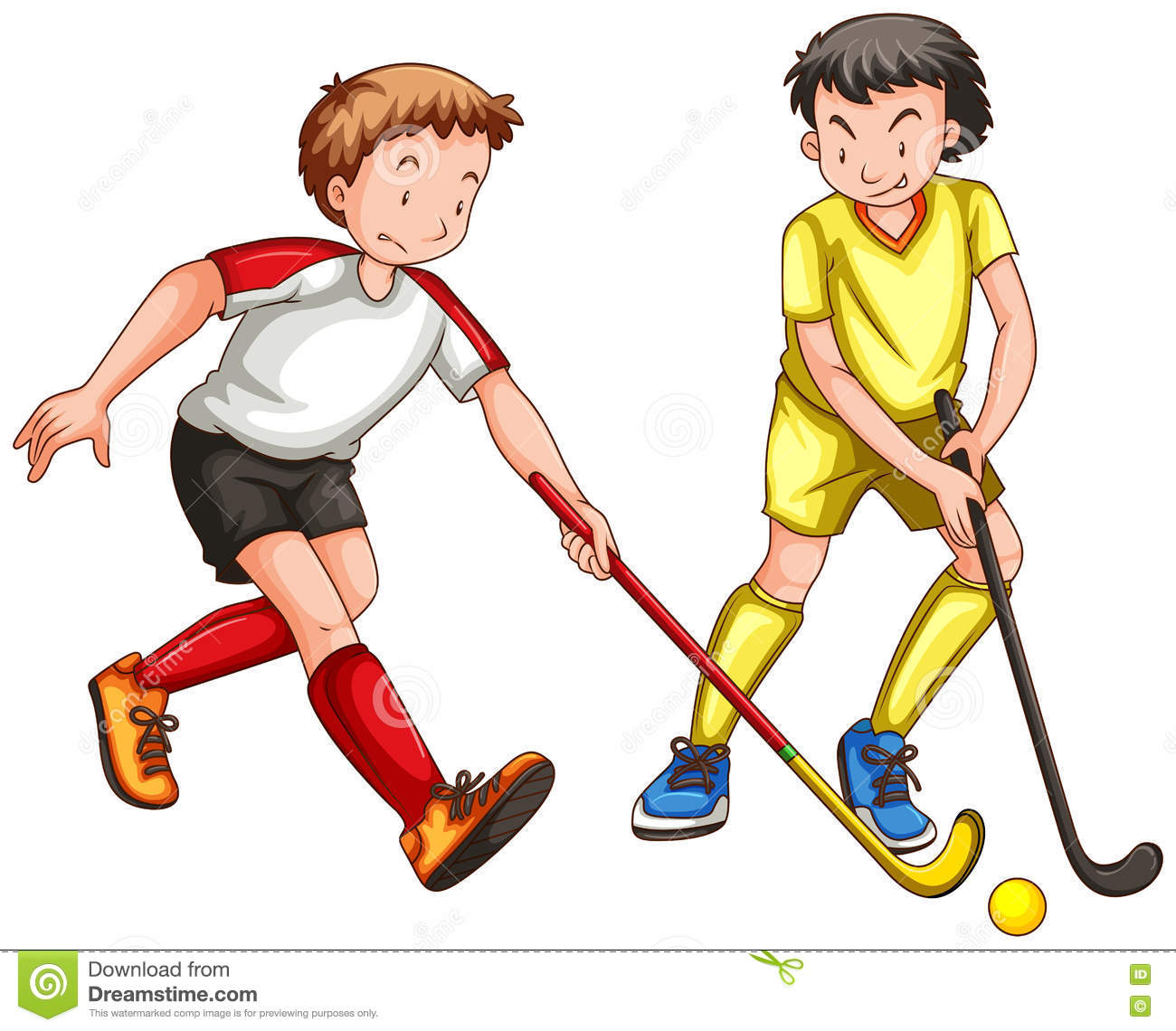Playing Hockey Clipart.