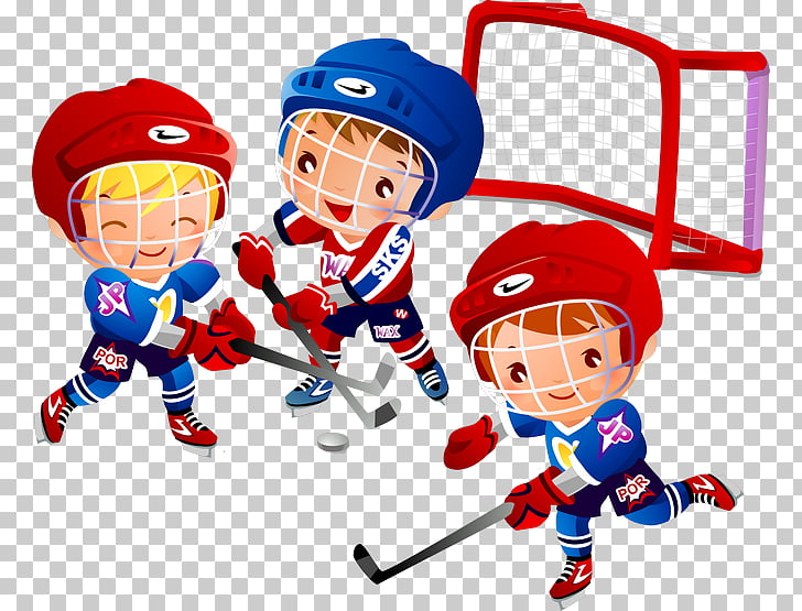 Ice hockey Cartoon , Children playing hockey PNG clipart.