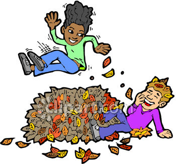 Royalty Free Clip Art Image: Children Playing In A Pile Of Leaves.