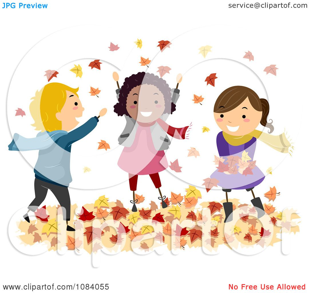 Clipart Stick Children Playing In Autumn Leaves.