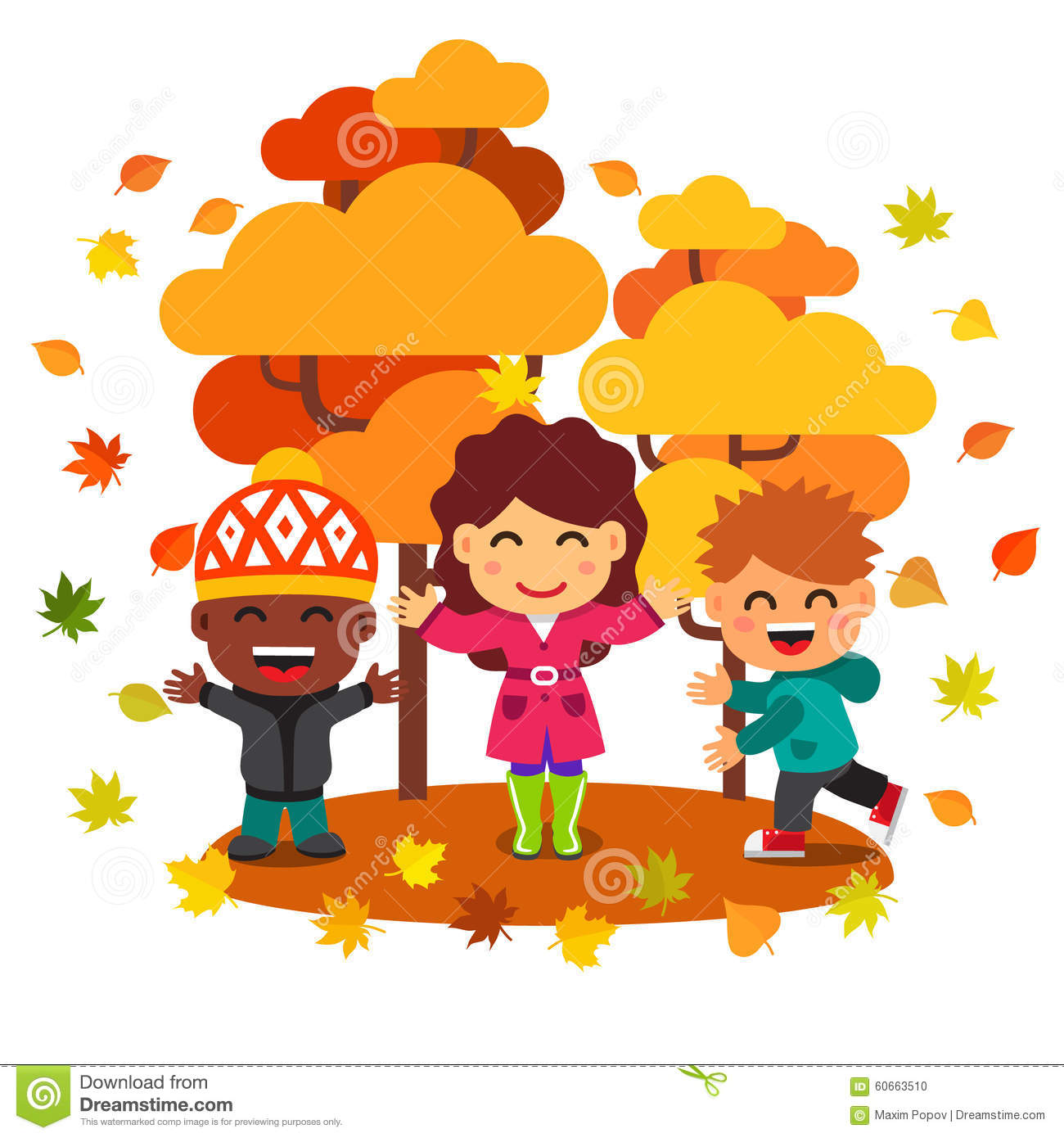 Mixed Race Kids Having Fun And Playing With Leaves Stock Vector.