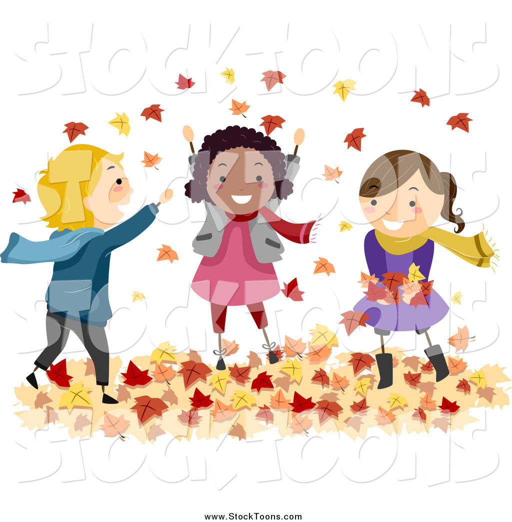 Stock Cartoon of Happy Diverse Stick Kids Playing in Autumn Leaves.