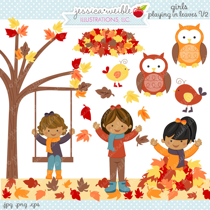Girls Playing in Leaves V2 Cute Digital Clipart Commercial.