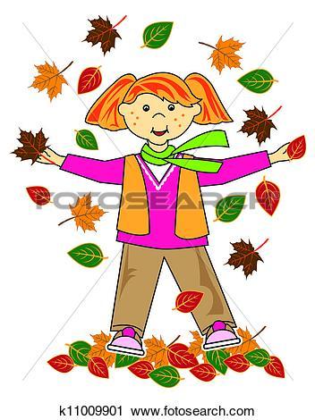 Drawings of kid in leaves blond hair boy k11009904.