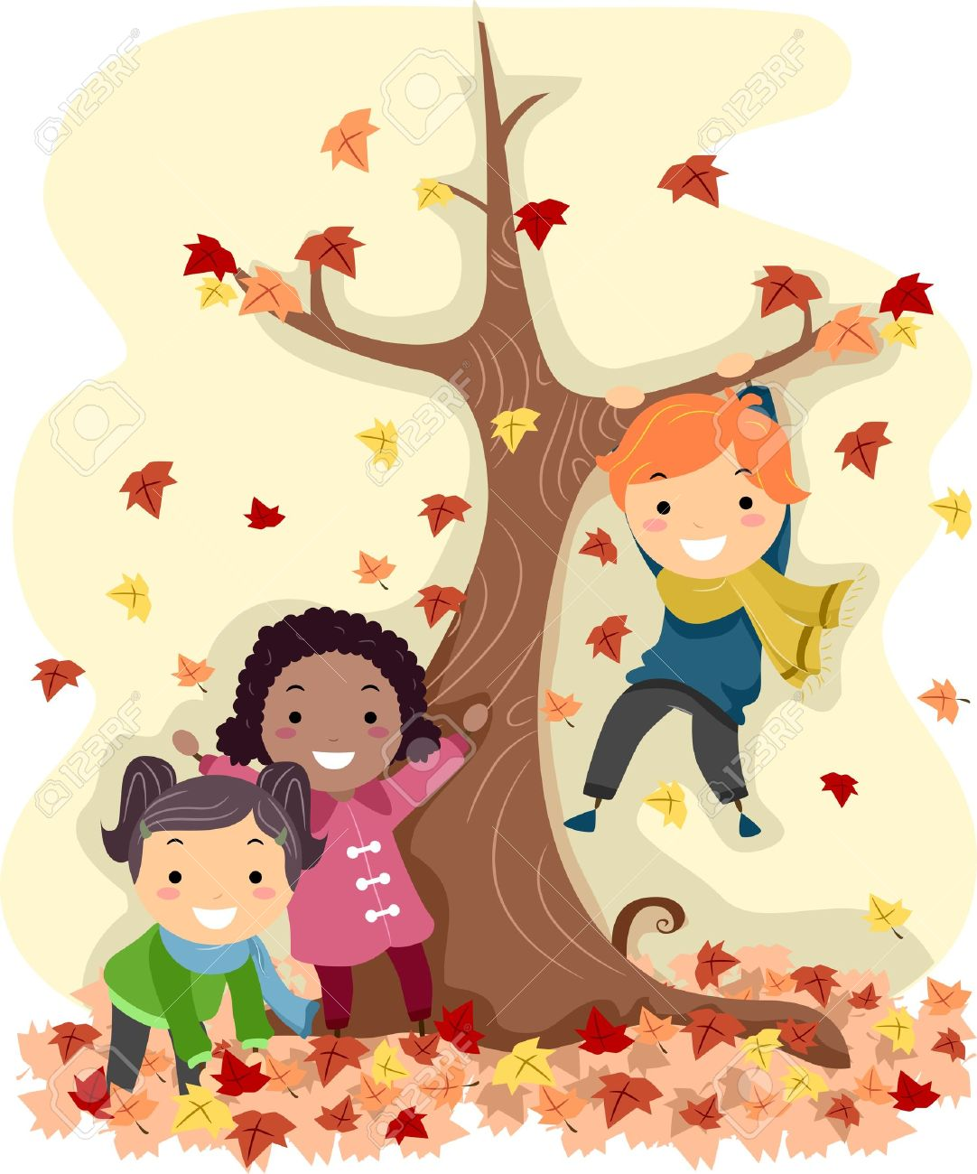 Illustration Of Stick Kids Playing With Autumn Leaves Stock Photo.