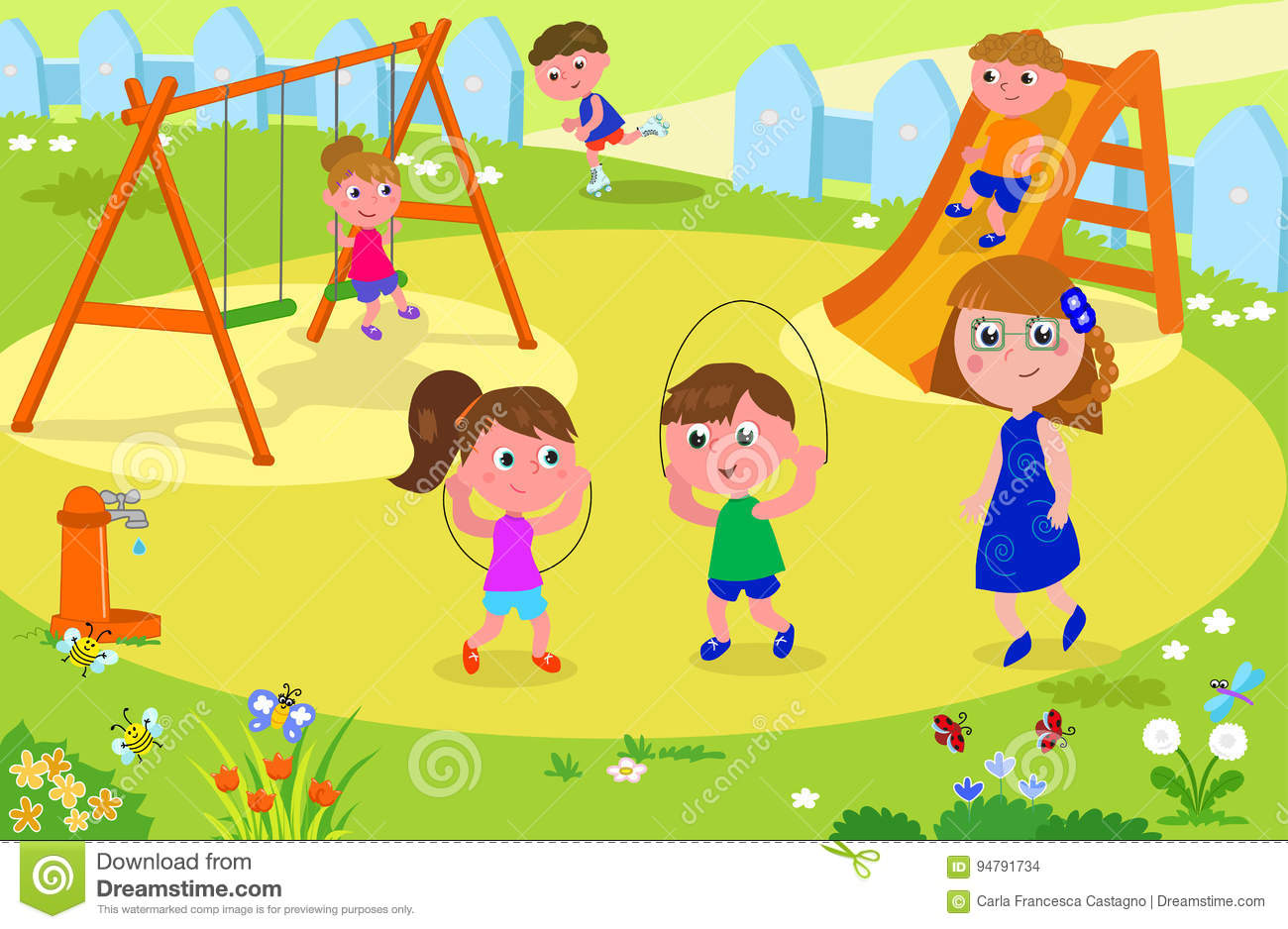 Kids Playing At The Park With Adult Stock Vector.