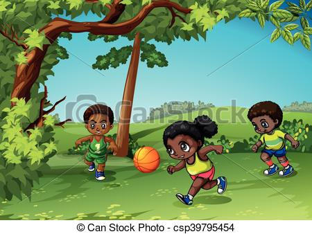 Three kids playing ball in the park.